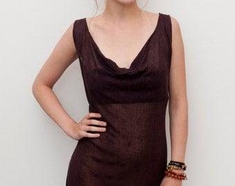 Seethrough Tunic Dress / Dark Brown Longer Top / Drape Neck Tunic