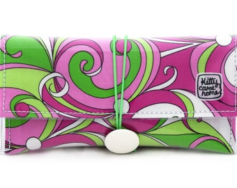 Button Clutch - 1960's Groovy Swirls - Michael Miller fabric