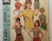 "McCall's 9458, Vintage 1968 Misses' Blouse, Size 14, Bust 36"""
