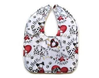 Reversible Dalmations Baby Bib - Hug Your Dog Baby Bib - Toddler Dalmation Bib - Heart Your Dog Bib - Toddler Dog Bib