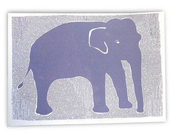 Art Print, Elephant Print, Elephant Art Print, Small Print, Elephant Screenprint, Mat Included