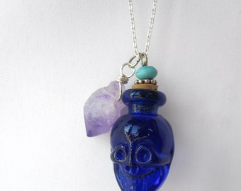 One of a Kind Essential Oil Blue Skull Bottle & Amethyst Charm Necklace - Unique Aromatherapy Layering Jewelry - Healing Bohemian Necklace
