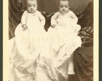 Hidden Mother/Father - Twins - Sandwich, IL - Antique Cabinet Card