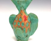 Tiny Table Fish: Jade Scale, Ceramic Fine Art
