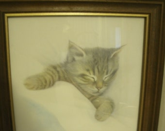 "Vintage Harrison Print ""Cat Napping"""