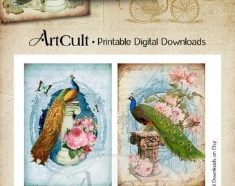 Printable Greeting Cards PEACOCKS Digital Collage Sheet Victorian Vintage ephemera paper goods gift tags downloadable graphics by ArtCult