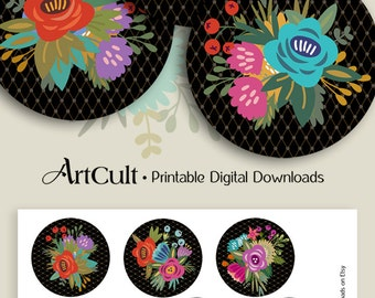 Printable Digital Collage Sheets DECO FLOWERS 2.5 inch size downloadable images for Pocket Mirrors Magnets, Paper Weights, Cupcake Toppers