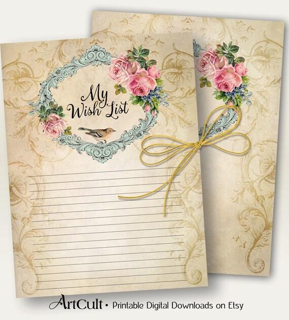 "Two Printable sheets ""MY WISH LIST"" and vignette Digital download Vintage Ephemera goods Scrapbooking Journaling craft paper ArtCult designs"