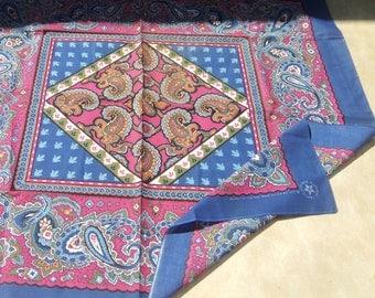 Huge Tablecloth Size Vintage Scarf Bandana Shawl Floral Paisley Print Bandanna  Blue Dark Dusty Rose Pink Mauve