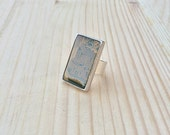 rectangular circuit board ring in resin recycled jewelry ready to ship one of a kind
