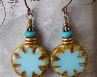 Bohemian Czech Glass Earrings Turquoise Blue Brass Beachy Boho Earrings Dangle Textured Drop Earrings Jewelry Rustic Woodland Earrings