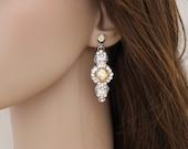 Champagne Bridal earrings, Crystal Wedding earrings, Golden shadow earrings, Chandelier earrings, Vintage style earrings, Swarovski crystal