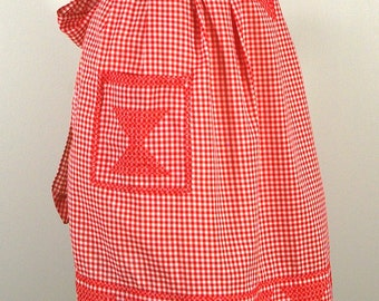 Vintage Red Gingham Apron, 50s Red Cross Stitch Gingham Half Apron, Embroidered Red Kitchen Hostess Apron