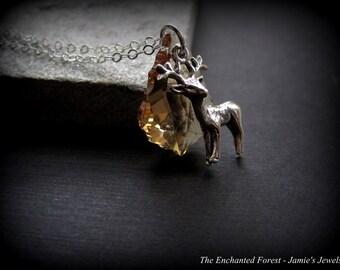 Sterling Silver Deer Necklace - Crystal Deer Necklace - Swarovski Crystal - Topaz - Fall Winter Necklace - Modern - Deer Lover Gift -Unique
