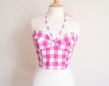 Gingham Crop Top, Gingham Bustier, Pin Girl Top, Plus Size Bustier, Gingham Bra Top, Retro Crop Top, Rockabilly Top, Sizes:UK 6-24/US 2-20