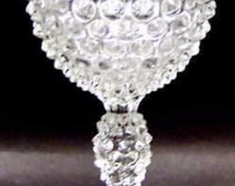 """7 Vintage DUNCAN MILLER Stemmed Clear Hobnail 4 1/4"""" Wine Bar Glasses"""