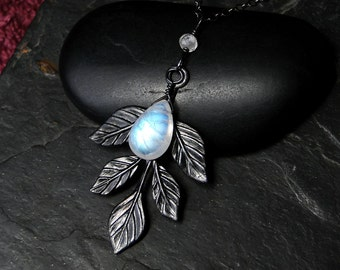 Rainbow Moonstone Necklace with Leaf Accent, Oxidized Sterling Silver- Mirkwood by CircesHouse on Etsy