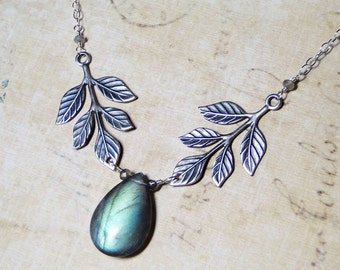 Labradorite Necklace, Leaf Necklace, Sterling Silver - Elven by CircesHouse on Etsy