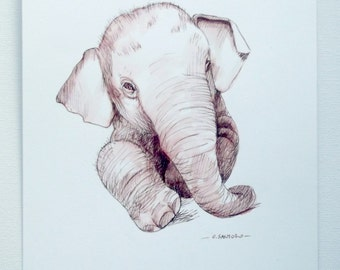 Baby elephant drawing ink wall art nursery decor