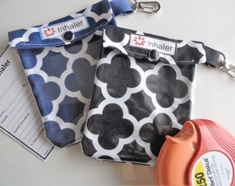 Inhaler or Epi Pouch Clear Front W/ Clip & ID Card Holds Asthma Puffer or Auvi Q Medication Injector - 4x5 Your Choice Quatrefoil Fabric