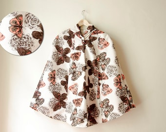 Butterfly Rain Coat Printed Brown and Coral Pink Vintage Inspired Cape with Hood, Waterproof, Womens Rain Cape, Gift For Her