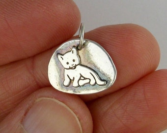 Kitten tiny cat pendant charm fine silver DTPD PMC