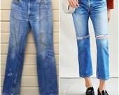 RESERVED Levi's 517. Levis Boyfriend Jeans. Vintage 80s Denim. medium wash. Vintage Levis. 34 X 36.  Boot cut. Haute. red tab