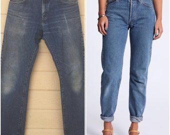 Levi's 517 Boyfriend Jeans. Vintage 80s Denim. Dark wash. Vintage Levis. 34 X 34. Boot cut. Haute. red tab