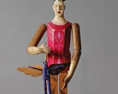 Sculpture - Dreamer's Santo- carved aspen and antique tin