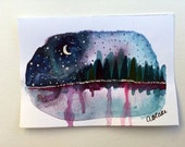 Nature Watercolor Painting - Mountain Art - Wildflower Painting - Night Sky Art - Original Watercolor Painting - Miniature Art - Moon Art