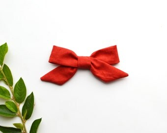 Sophie Hand-tied Persimmon Red Simple Classic Fabric Bow Nylon Elastic or Alligator Clip