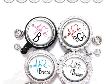 Retractable ID Badge Reel - Personalized EKG Cardiac Nurse Heart Lanyard Holder in 8 Colors with Name, Monogram, Occupation Title (A204)