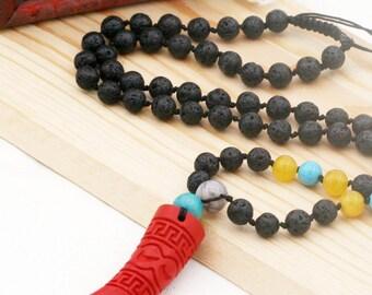 Strength and harmony unisex necklace - lava, jade, howlite, agate and cinnabar