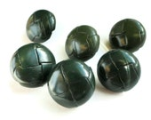 Leather Vintage Buttons in Hunter Green - 6 Preppy Blazer Buttons
