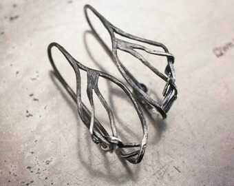 Root System small hoop earrings…sterling silver