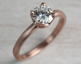 6mm Crown Solitaire Engagement Ring - Gold or Palladium Diamond, Forever One Moissanite Ring, or Moissanite Engagement Ring