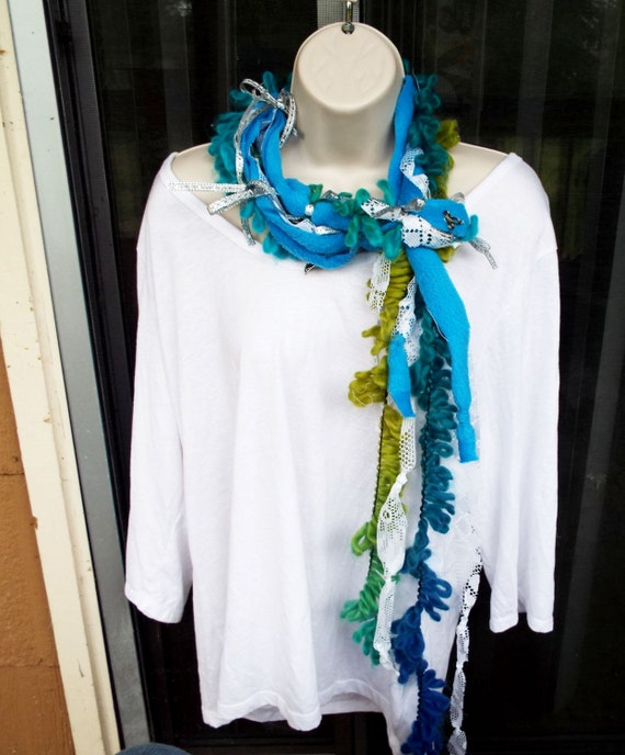 handmade bohemian charmed rag scarf in blues and greens