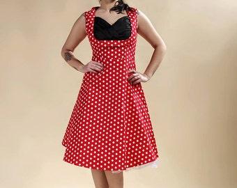 "Dress pin-up, polka-dot red dress, dress rockabilly "" HOPEFUL """