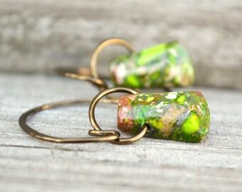 Green Gemstone Earrings Impression Jasper Stone Hoop Dangle Earring