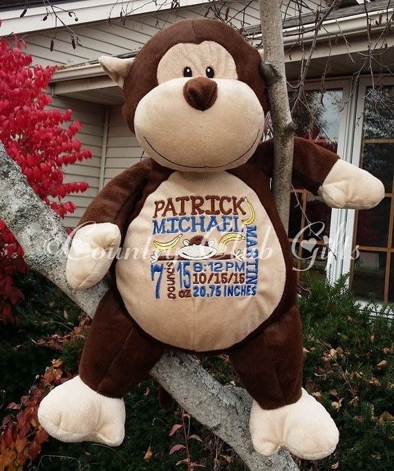Personalized baby gift personalized plush stuffed animal like this item negle Image collections