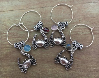 Crab Wine Charms, Crabs Wine Charms, Beach Wine Charms, Beach Wedding Wine Charms, Wine Markers, Set of 4