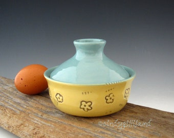 Pottery Egg Cooker in Vintage Turquoise with Cheerful Flowers - Microwave Egg Cooker - by DirtKicker Pottery