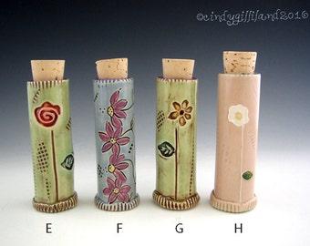 Little Jar with Cork Lid - Spice Jar - Pottery Jar - Keepsake jar - by DirtKicker Pottery