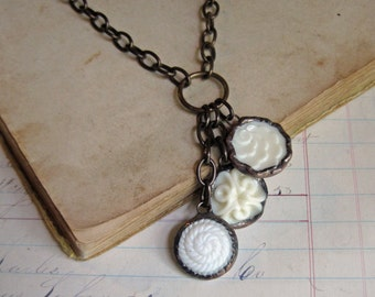 Opaque Glass Button Cascading Necklace Vintage Buttons Off White