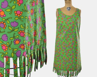 1960s fringe dress / green floral sheath / mod shift dress  / 60s dress .. small