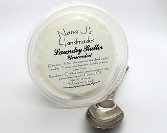 Handmade Laundry Butter/Laundry Soap/Laundry Butter/32 Loads/1 pound/Eco Friendly/Unscented/Natural Laundry Butter/Whipped Laundry Butter