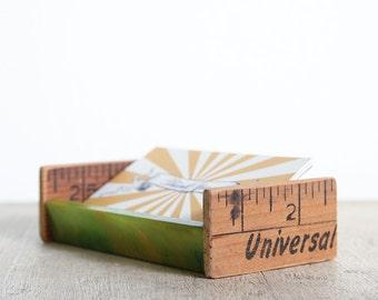 Desktop Business Card Holder / Handmade from Recycled Vintage Parts / Green Bakelite