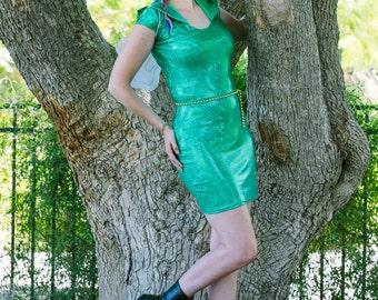 Emerald Shattered Glass Bodycon Dress ~ Handmade, Holographic, Holo, Hologram, Shiny, Sparkly,, Lycra