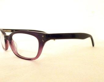 NOS Vintage Plum Fader Wayfarer Style Eyeglasses, Sunglasses / Men/ Women / Geeks / Fade to Crystal Violet /// Spring Hinge