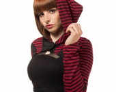 SALE: JINX stripy witchy shrug with pointy hood, by Plastik Wrap. XS